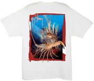 Guy Harvey Rock Lobster Dive Men's Back-Print Tee w/ Pocket in White