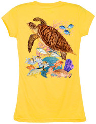 Guy Harvey  Hawksbill Reef Back-Print Junior Ladies Tee with Front Faux Pocket in Black, Raspberry or Yellow