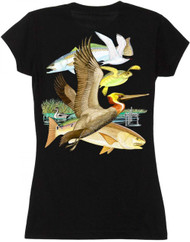 Guy Harvey Gulf Life 2 Back-Print Junior Ladies Tee with Front Faux Pocket in Black