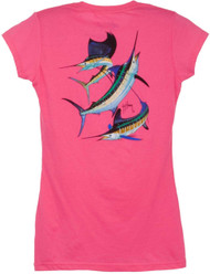 Guy Harvey Grand Slam Back-Print Junior Ladies Tee with Front Faux Pocket in Raspberry, Turquoise, White or Yellow