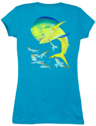Guy Harvey Bull Dolphin Back-Print Junior Ladies Tee with Front Faux Pocket in Turpuoise or Black