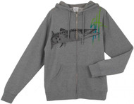 Guy Harvey Barracuda Young Men's Front & Back-Printed Fleece Hoodie in Gunmetal Gray