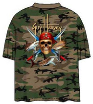 Guy Harvey Pirate Shark Camoflage Men's Back-Print Tee