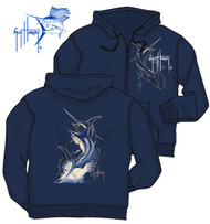 Guy Harvey Swordfish Strike Men's Front & Back-Printed Fleece Hoodie in Black