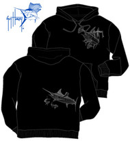 Guy Harvey Marlin Dorado Men's Front & Back-Printed Fleece Pull Over Hoodie in Heather Gray