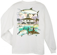 Guy Harvey Boca Grande Lighthouse Back-Print Long Sleeve Men's Tee w/Pocket in White