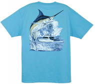 Guy Harvey Marlin Boat  Men's Back-Print Tee w/ Pocket in Mint, Kelly Green, White, Yellow, Hot Pink, Aqua Blue, Red or Denim Blue