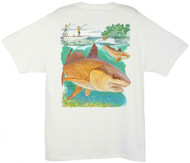 Guy Harvey Redfish Boat Men's Back-Print Tee w/ Pocket in White or Denim Blue