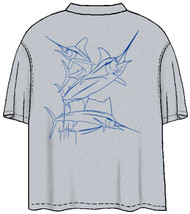 Guy Harvey Brushstroke Slam Men's Back-Print Tee on Heather Gray Shirt with Blue or Cardinal Printing
