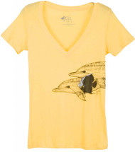 Guy Harvey Playtime V-Neck Front-Print Junior Ladies Tee in Banana or White