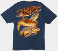 Guy Harvey Cayman Turtles Men's Back-Print Tee w/ Pocket in White, Hot Pink, Aqua Blue or Navy