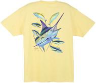 Guy Harvey Marlin Yellowfin Men's Back-Print Tee w/ Pocket in Kelly Green, Yellow or White