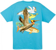 Guy Harvey Gulf Life 2 Men's Back-Print Tee w/ Pocket in Black, White, Yellow or Aqua Blue