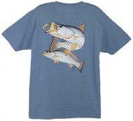 Guy Harvey Seatrout with Shrimp Men's Back-Print Tee w/ Pocket in Denim Blue, Red, Graphite or Stonewashed Green