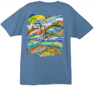 Guy Harvey Cabo Gamefish Men's Back-Print Tee w/ Pocket in Denim Blue, Yellow  or White