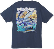 Guy Harvey Cabo Billfish Collage Men's  Back-Print Tee w/ Pocket in Navy or White
