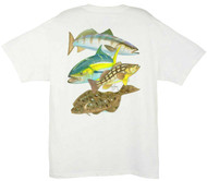 Guy Harvey Pacific Collage Men's Back-Print Tee w/ Pocket in White or Stonewashed Green