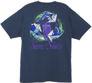 Guy Harvey Save Our Seas Men's Back-Print Men's Tee w/ Pocket in Navy or White