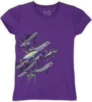Guy Harvey Dolphin & Tuna Little Girls Tee Shirt in Purple