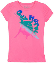 Guy Harvey Ombre Marlin Little Girls Tee Shirt in Hot Pink