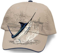 Guy Harvey Marlin Boat Brushed Cotton Twill Structured Hat in Natural or Denim Blue