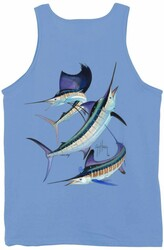 Guy Harvey Grand Slam Men's Tank Top in White or Carolina Blue