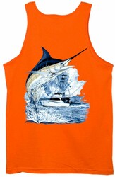 Guy Harvey Marlin Boat Back-Print Men's Tank Top in White or Orange