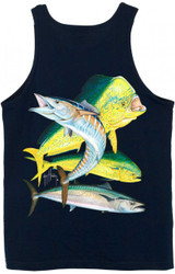 Guy Harvey Bull Dolphin, Wahoo, Kingfish Back-Print Men's Tank Top in Athletic Heather, Orange or Navy