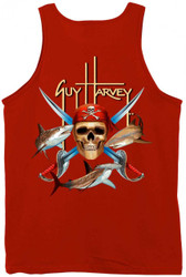 Guy Harvey Pirate Shark Back-Print Men's Tank Top in Cardinal