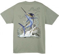 Guy Harvey Triumph Men's Back-Print Tee w/ Pocket in Red, Yellow or Stonewashed Green