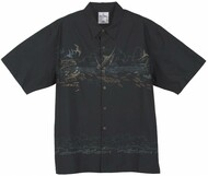 Guy Harvey Etchings Woven, Aloha-Style Shirt in Black