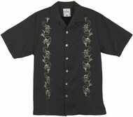 Guy Harvey Marlin Lure Woven, Aloha-Style Shirt in Black