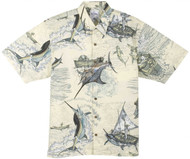 Guy Harvey Santiago's Big Blue Woven, Aloha-Style Shirt in Natural or Blue