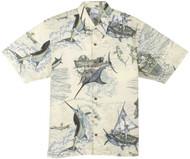 Guy Harvey Santiago's Big Blue Woven, Aloha-Style Shirt in Natural