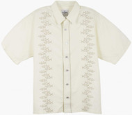 Guy Harvey Yellowfin Stripe Woven, Aloha-Style Shirt in Natural