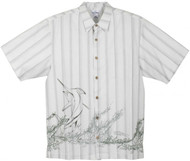 Guy Harvey Pinstripe Splash Woven, Aloha-Style Shirt in Gray