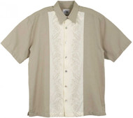 Guy Harvey Sailfish Panel Woven, Aloha-Style Shirt in Taupe