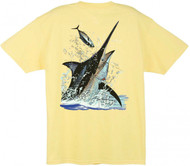 Guy Harvey Black Marlin Toss Men's Back-Print Tee w/ Pocket in Kelly Green, Denim Blue, Yellow or White