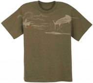 Guy Harvey No Time to Spare Youth Premium Tee in Scarlet or Military Green