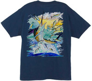Guy Harvey Island Marlin Men's Back-Print Tee w/ Pocket in Hot Pink, Orange, Navy Blue, Denim Blue or White