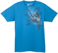 Guy Harvey Marlin Yellowfin Young Man's Tee in Turquoise or White
