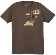 Guy Harvey Harvey Redfish Young Man's Tee in Denim, Chocolate or Charcoal Heather
