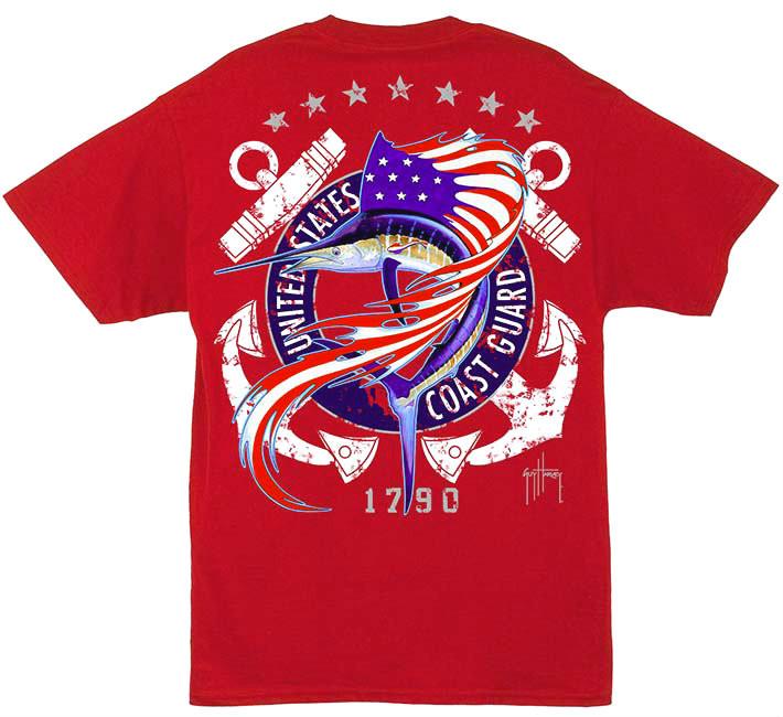 d81c73d6280 Guy Harvey U.S. Coast Guard Men's Back-Print Tee w/ Pocket in White or Red