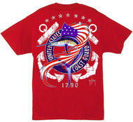 Guy Harvey U.S. Coast Guard Men's Back-Print Tee w/ Pocket in Red
