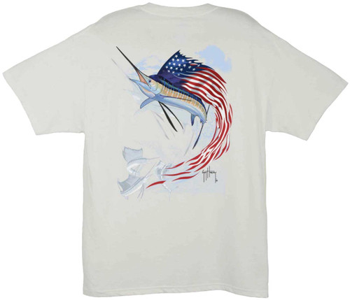 Guy Harvey Star Spangled Guy Men's Back-Print Tee in White