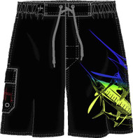 Guy Harvey Slammed Men's Fakie Board Short in Black