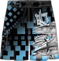 Guy Harvey Wahoo Squares Men's Fakie Board Short in Turquoise, or Navy