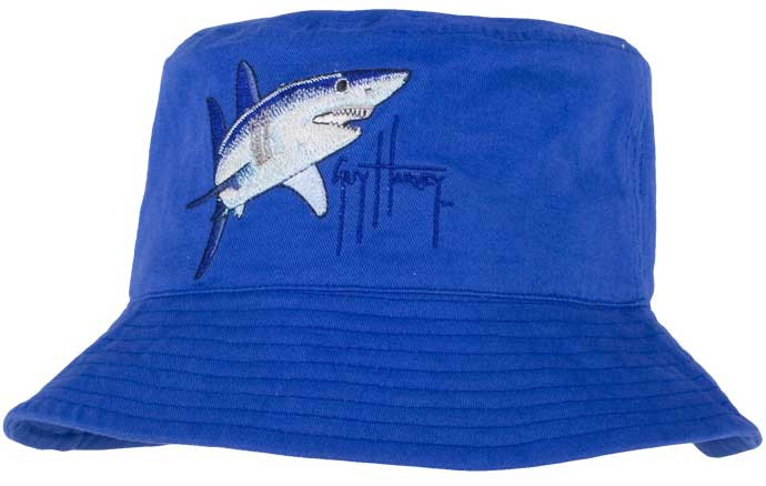 Guy Harvey Mako Shark Youth Bucket Hat in Royal Blue of Sparkle Pink.   12.95. Image 1 a7b0bd6222ae