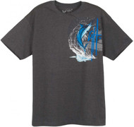 Guy Harvey Marlin Leap Young Man's Tee in Chocolate or Charcoal Heather
