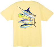 Guy Harvey Foursome Men's Back-Print Tee w/ Pocket in Kelly Green, White, Red, Yellow or Aqua Blue